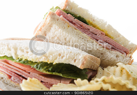 Bologna Sandwich stock photo, Closeup of a bologna sandwich with potato chips, isolated on a white background. by Richard Nelson