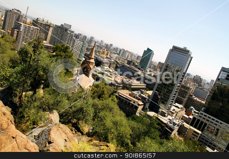 View over Santiago de Chile stock photo, View over Santiago de Chile, South america. by Michael Osterrieder