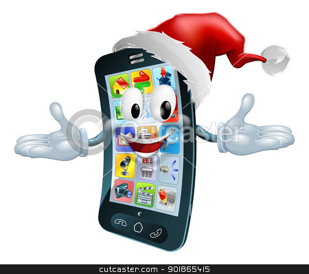 Happy Christmas cell phone stock vector clipart, Illustration of a happy Christmas cell phone wearing a Santa Claus hat by Christos Georghiou