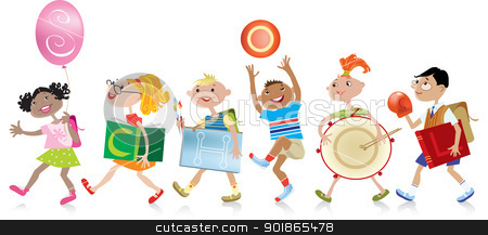 Back to school stock vector clipart, Group of boys and girls coming back to scholl, holding different things with word SCHOOl written on them by Vanda Grigorovic
