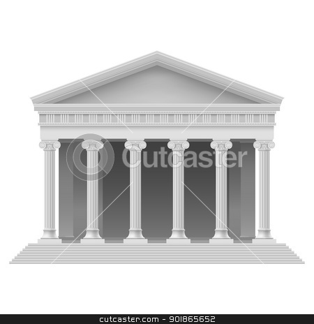 Architectural element stock photo, Big Portico an ancient temple. Colonnade. Illustration on white by dvarg