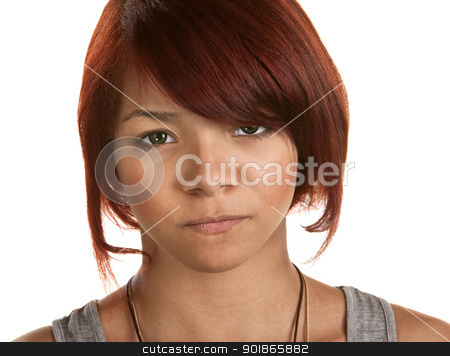 Frowning Young Woman stock photo, Frowning young woman isolated over white background by Scott Griessel