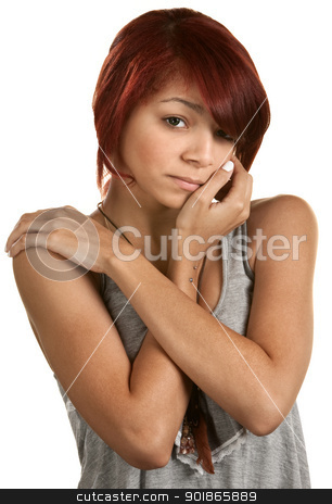 Depressed Female Teen stock photo, Weeping teenage girl over white holding her shoulders by Scott Griessel