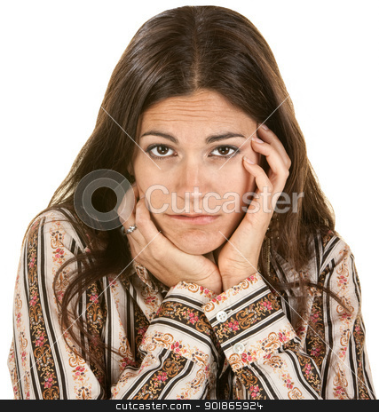 Sad Woman with Hands on Face stock photo, Serious European woman with long hair holding her chin by Scott Griessel