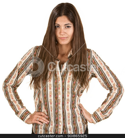 Pretty Hispanic Coy Woman stock photo, Playful Hispanic woman acting disappointed with hands on hips by Scott Griessel
