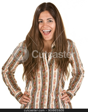 Laughing Woman stock photo, Laughing woman with long hair and hands on hips by Scott Griessel