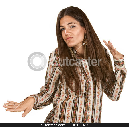 Woman Dancing With Hands stock photo, Funny woman dancing with hand gestures over white background by Scott Griessel
