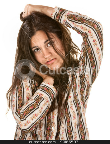 Pouting Woman Holds Her Head stock photo, Pouting young Hispanic woman holding her head by Scott Griessel