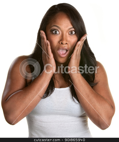 Surprised Woman with Hands on Face stock photo, Surprised athletic African woman with hands on face by Scott Griessel