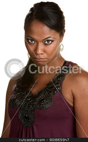 Pouting Woman On White Background stock photo, Pouting young Black woman with long hair over white by Scott Griessel