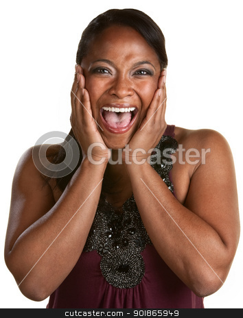 Laughing Black Woman stock photo, Hysterical woman laughing with hands on her face by Scott Griessel