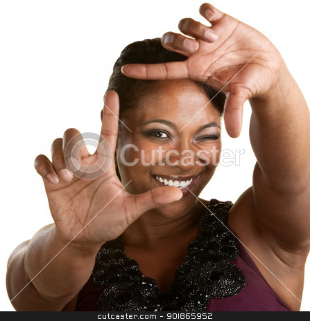 Filmmaker Sizing with Fingers stock photo, Upbeat Black woman using a framing gesture by Scott Griessel