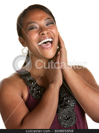 Cheerful Young Woman stock photo, Cheerful Black woman with hands by her face laughing by Scott Griessel