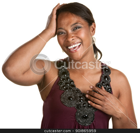 Laughing Lady Smacks Her Head stock photo, Joyful lady with hand on forehead over white background by Scott Griessel