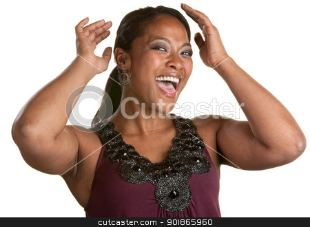 Happy Woman Fixes Her Hair stock photo, Joyful woman over white background fixing her hair by Scott Griessel