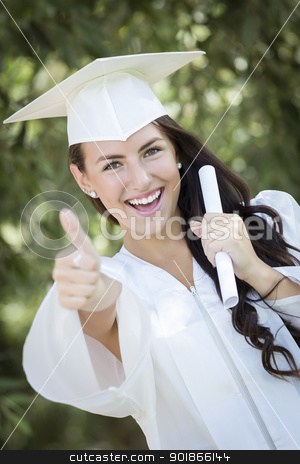 Graduating Mixed Race Girl In Cap and Gown with Diploma stock photo, Attractive Mixed Race Girl Celebrating Graduation Outside In Cap and Gown with Diploma in Hand. by Andy Dean