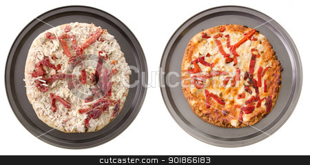 Vegetarian Pizza stock photo, A comparison of two vegetarian pizzas, cooked and uncooked. by Richard Nelson