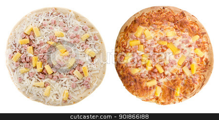 Hawaiian Pizza stock photo, Comparison of a cooked and uncooked hawaiian pizza, isolated on a white background. by Richard Nelson