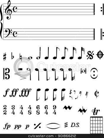 Musical Notes stock vector clipart, A selection of scaleable musical notes and symbols by Kotto