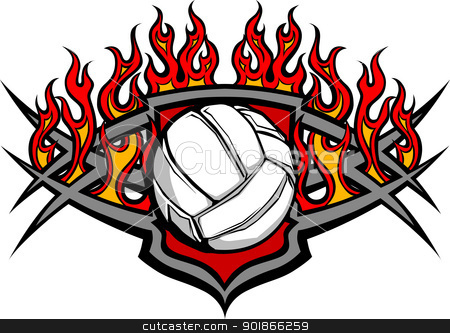 Volleyball Ball Template with Flames Vector Image stock vector clipart, Graphic Volleyball vector image template with flames by chromaco