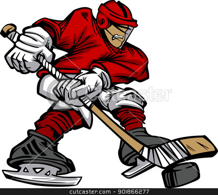 Cartoon Hockey Player Skating Vector  stock vector clipart, Cartoon Vector of a Hockey Player Skating with Hockey Stick by chromaco