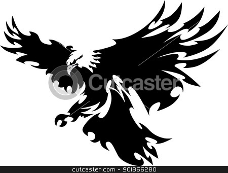 Eagle Mascot Flying Wings Design stock vector clipart, Graphic Mascot Image of a Flying Eagle  by chromaco