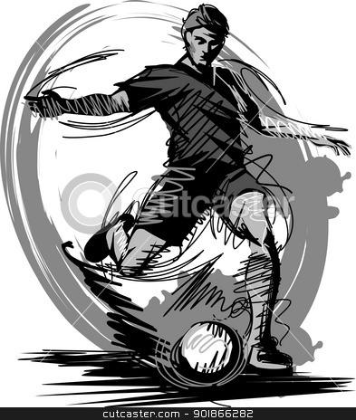 Soccer Player Kicking Ball Vector Illustration stock vector clipart, Sketch Illustration of a Soccer Player by chromaco