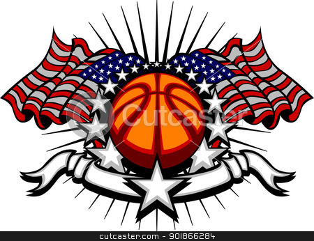 Basketball Vector Template with Flags and Stars stock vector clipart, Stars and Stripes Patriotic American Basketball Image with American Flags by chromaco