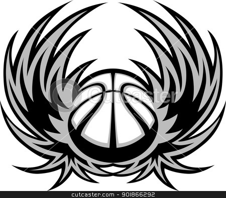 Basketball Template with Wings stock vector clipart, Graphic Basketball ball image template with wings by chromaco
