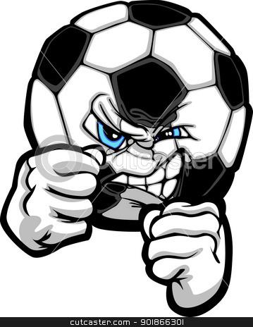 Fighting Soccer Ball Vector Illustration stock vector clipart, Soccer Ball with Face and Fighting Hands Sketch Illustration by chromaco