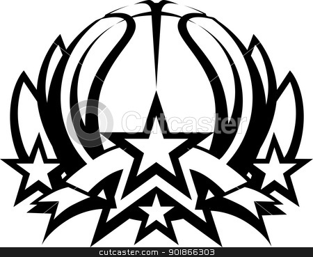 Basketball Vector Graphic Template with Stars stock vector clipart, Basketball with Stars Vector Template Graphic Image by chromaco