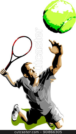 Tennis Player Silhouette Serving Ball stock vector clipart, Tennis Serve Silhouette Vector illustration by chromaco