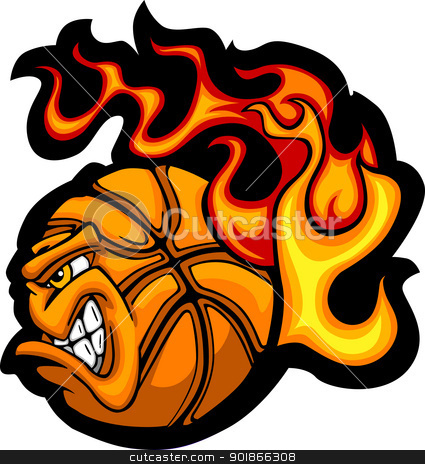 Basketball Flaming  Ball Face Vector Image stock vector clipart, Flaming Basketball Ball Face Vector Illustration  by chromaco