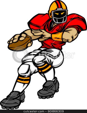 Football Player Quarterback Vector Cartoon stock vector clipart, Cartoon Vector Silhouette of a Cartoon Football Player Throwing Ball by chromaco