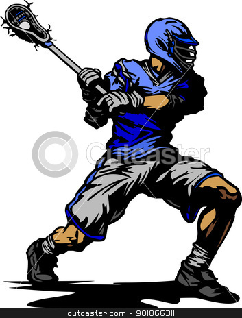Vector Illustration of a Lacrosse Player stock vector clipart, Lacrosse Player Cradling Ball Vector Illustration by chromaco