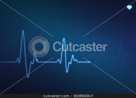 Heartbeat Monitor stock photo, Medical heartbeat monitor (electrocardiogram) with blue background and heart symbol by Alex Stokes