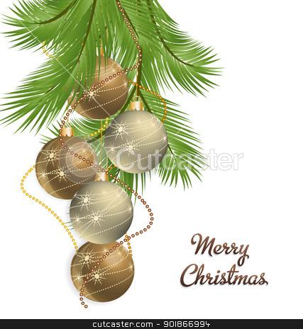 Christmas background stock vector clipart, Vector Christmas background decorated with branches by Miroslava Hlavacova