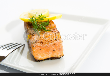 Delicious grilled salmon on a white plate stock photo, Delicious grilled salmon on a white plate with salt, pepper and lemon slices. by Instudio 68