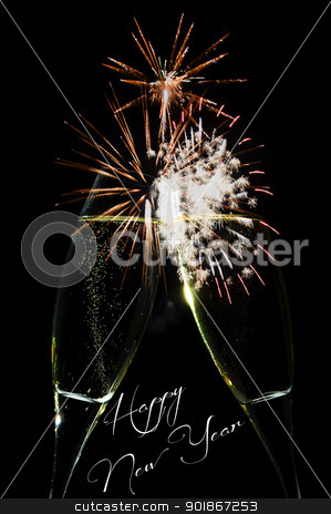 New Year celebration stock photo, New Year firework celebration with rockets exploding high in the night sky and Happy New Year text below by p.studio66