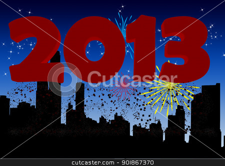 Happy new year 2013 stock photo, 2013 New Year's Eve greeting card by p.studio66