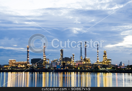 Oil refinery plant in the dawn. stock photo, Oil refinery plant in the dawn, Chao Phraya river, Thailand by chatchai
