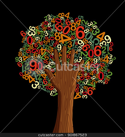 School education concept tree hand stock vector clipart, School education concept tree made with letters and human hand. Vector file layered for easy manipulation and custom coloring. by Cienpies Design