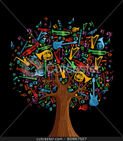 Abstract Musical Tree Made With Instruments Stock Vector