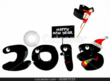 Happy new Year 2013 stock photo, Funny 2013 New Year's Eve greeting card by p.studio66