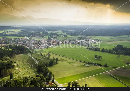 panoramic aerial view Bavaria stock photo, An image of a panoramic aerial view Bavaria by Markus Gann