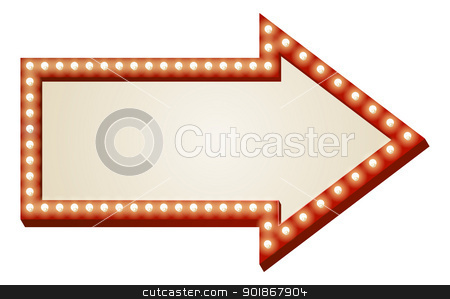 Arrow lights sign stock vector clipart, Illustration of red arrow sign with copy space and light bulbs surround by Christos Georghiou