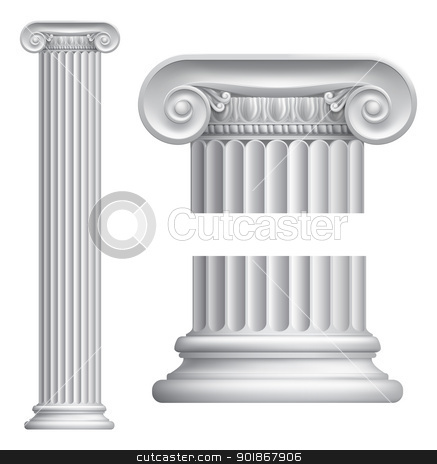 Ionic column stock vector clipart, Illustration of classical Greek or Roman Ionic column by Christos Georghiou