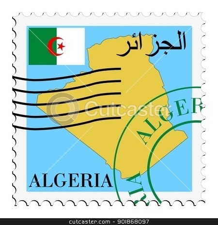 stamp with map and flag of Algeria stock vector clipart, Image of stamp with map and flag of Algeria by Oleksandr Kovalenko