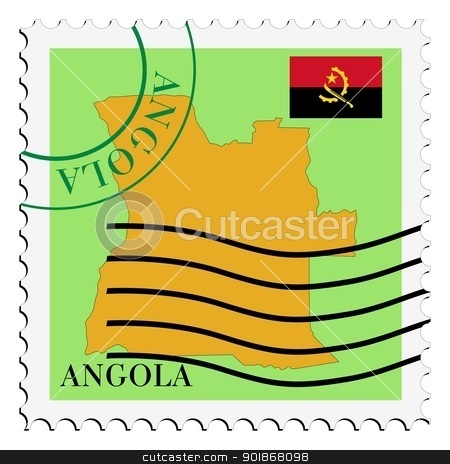 stamp with map and flag of Angola stock vector clipart, Image of stamp with map and flag of Angola by Oleksandr Kovalenko