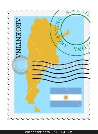 stamp with map and flag of Argentina stock vector clipart, Image of stamp with map and flag of Argentina by Oleksandr Kovalenko